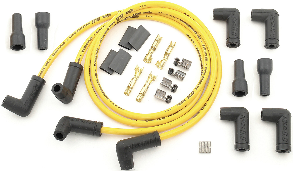 4 PLUG WIRE SET YELLOW 8.8MM
