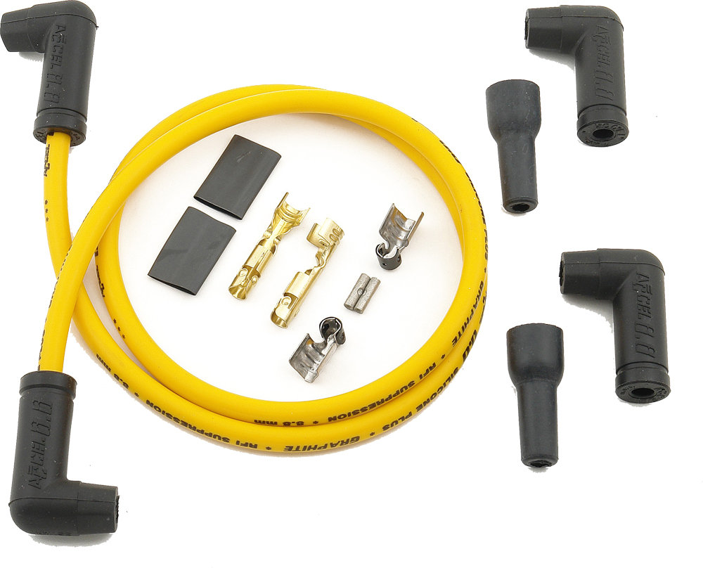 2 PLUG WIRE SET YELLOW 8.8MM - Alter Ego Motorcycle Supply