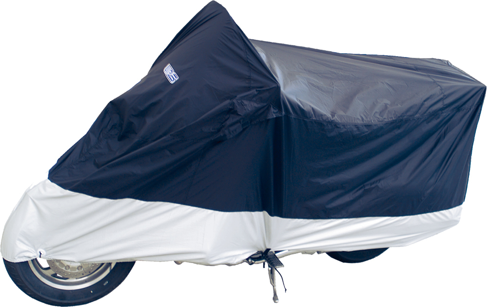DELUXE MOTORCYCLE COVER L BLUE/SILVER