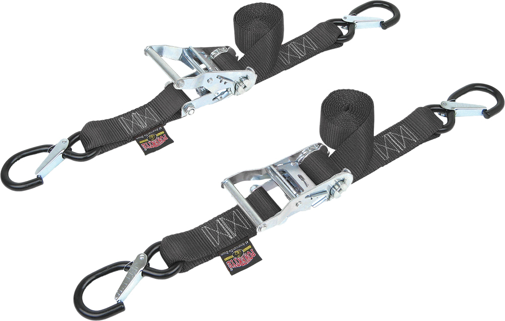 FAT STRAP RATCHET TIEDOWNS W/LATCH HOOKS BLACK (PAIR)