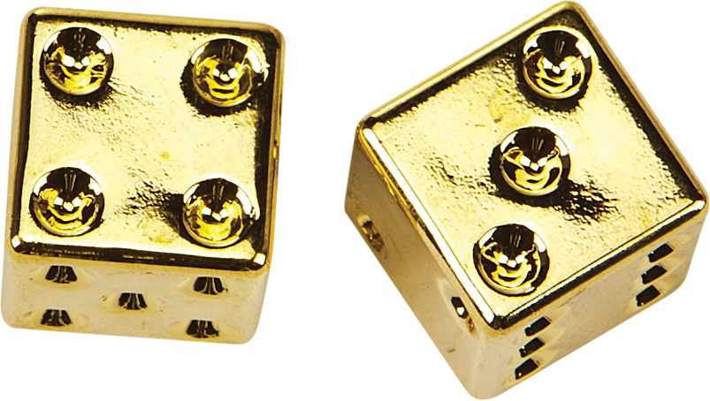 VALVE STEM CAPS GOLD DICE