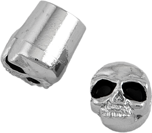 VALVE STEM CAPS CENTER STEM CHROME SKULL
