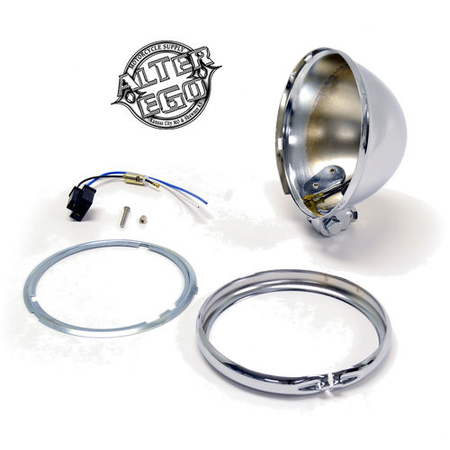 "5-3/4"" Bates Style Chrome Headlight Shell Kit"