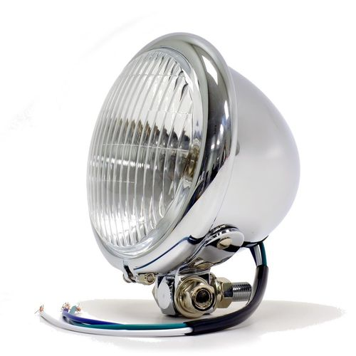 "Bates Style 4.5"" Chrome Bottom Mount Headlight"