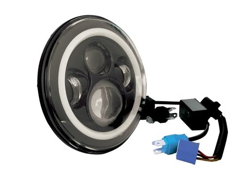 "7"" LED HEADLIGHTS WITH BLACK FACE HALO"