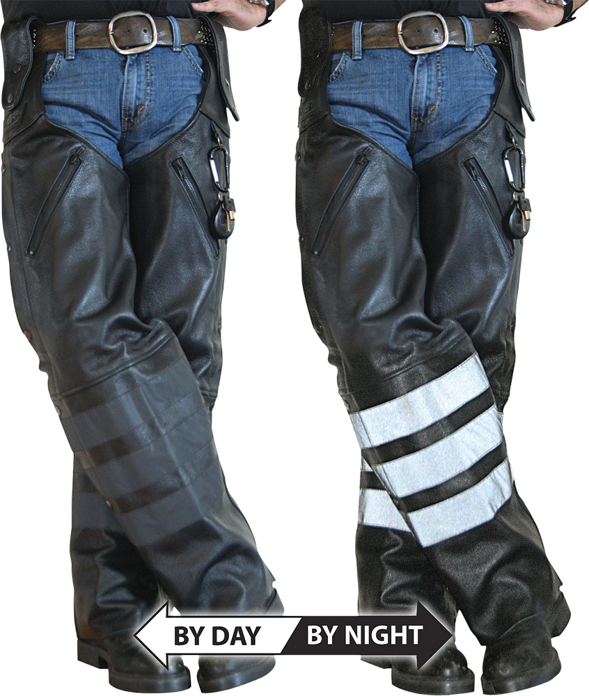 BLACK OPS LEATHER HOOK CHAPS BLACK 3X