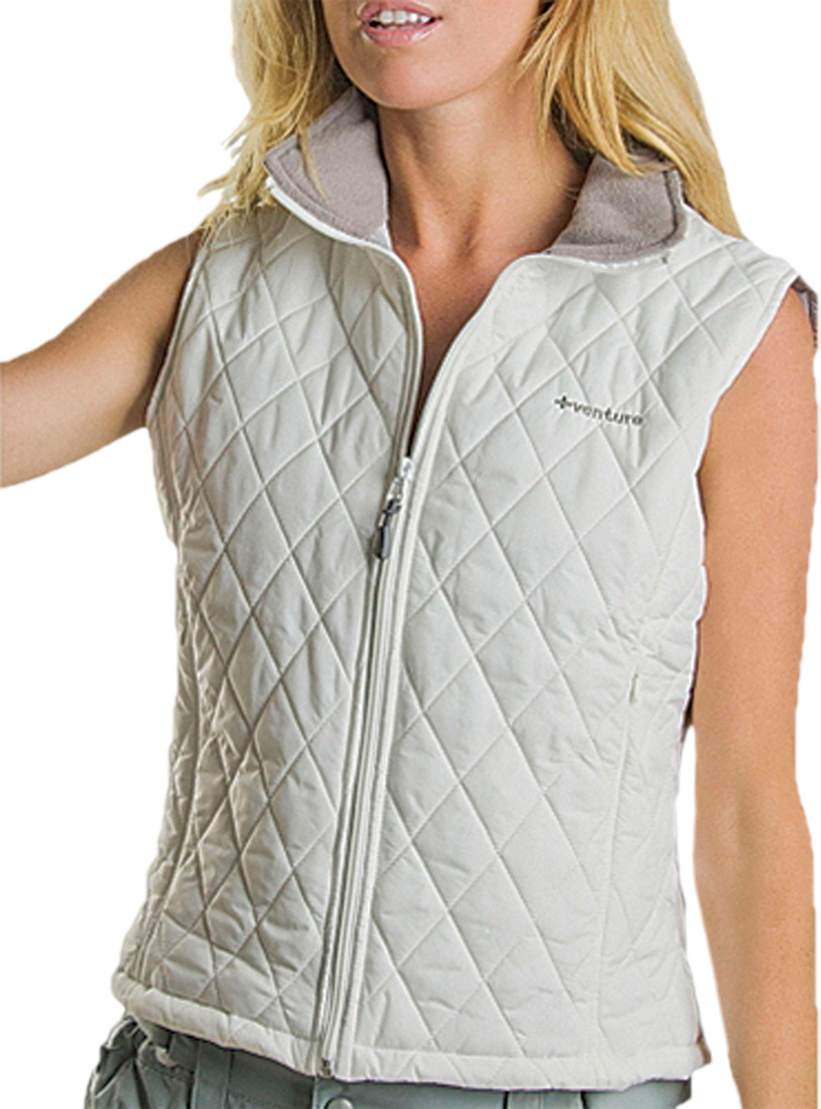QUILTED HEATED NYLON VEST LADIES WHITE XS
