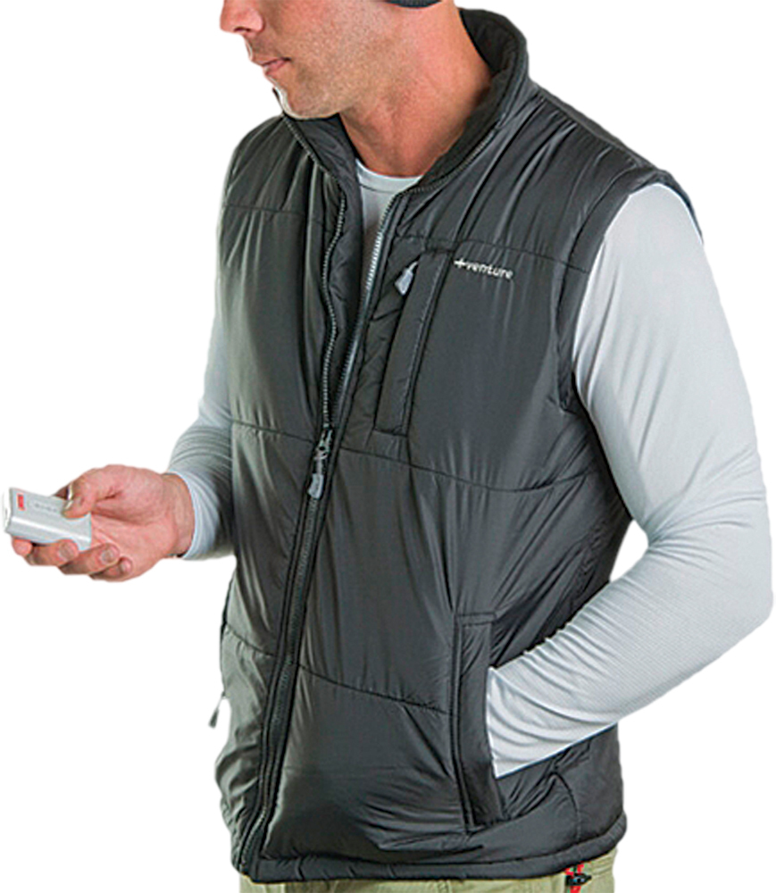 QUILTED HEATED NYLON VEST MENS BLACK X