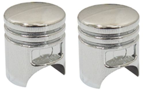 CHROME PISTON CUSTOM VALVE STEM COVER CAPS PAIR