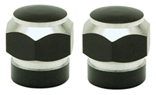 BLACK HEX CUSTOM VALVE STEM COVER CAPS PAIR